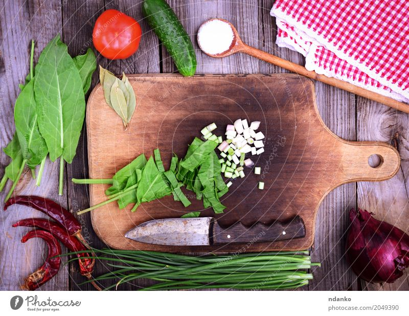 Fresh vegetables for salad Food Vegetable Herbs and spices Nutrition Vegetarian diet Diet Table Kitchen Natural Above Gray Green Red Tomato cucumber Onion