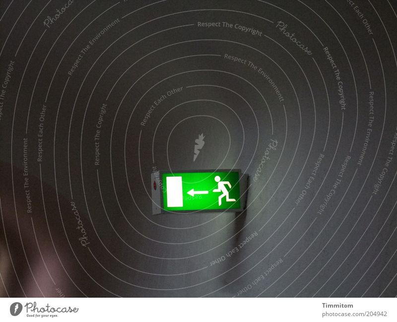 Green Wall (building) Emotions Wall (barrier) Lighting Fear Going Walking Signs and labeling Running Safety Signage Protection Sign Arrow Tunnel
