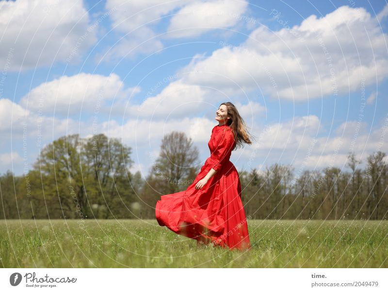 . Feminine Woman Adults 1 Human being Sky Clouds Beautiful weather Meadow Forest Dress Blonde Long-haired Movement Rotate Relaxation Dance Happiness Happy Joy
