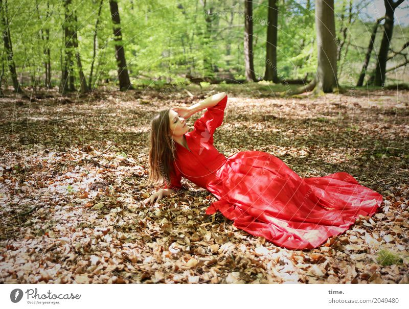 Human being Woman Beautiful Tree Relaxation Leaf Forest Adults Life Movement Feminine Lie Creativity Beautiful weather Joie de vivre (Vitality) Observe