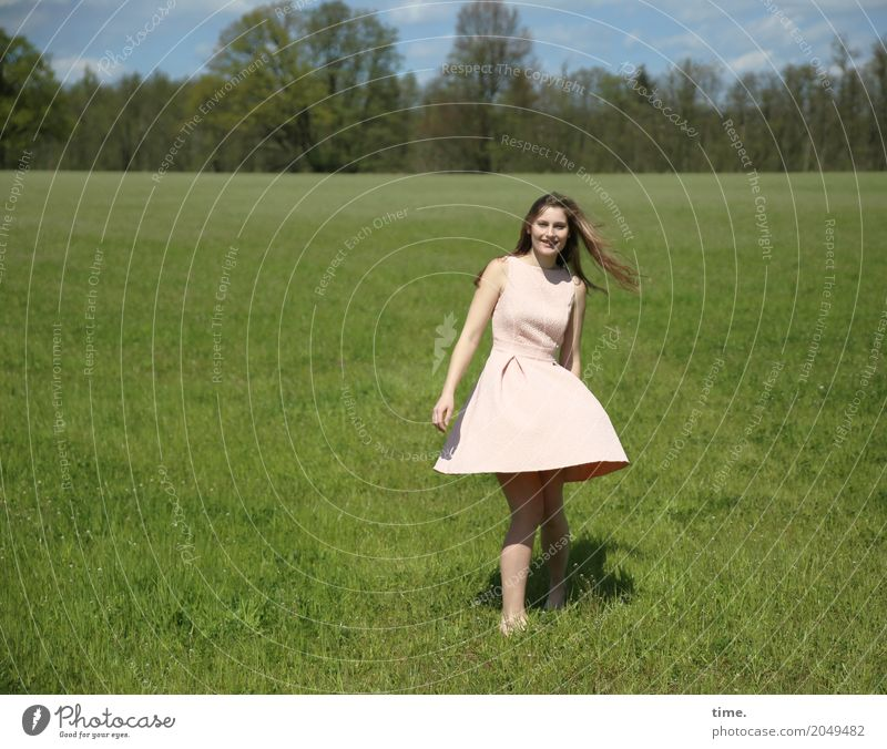 . Feminine Woman Adults 1 Human being Spring Beautiful weather Tree Meadow Field Dress Brunette Long-haired Observe Movement Rotate Looking Dance Free Happiness
