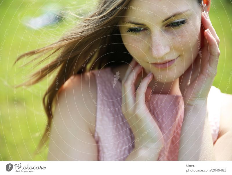 Human being Woman Beautiful Relaxation Calm Adults Warmth Life Spring Meadow Feminine Happy Time Moody Dream Contentment