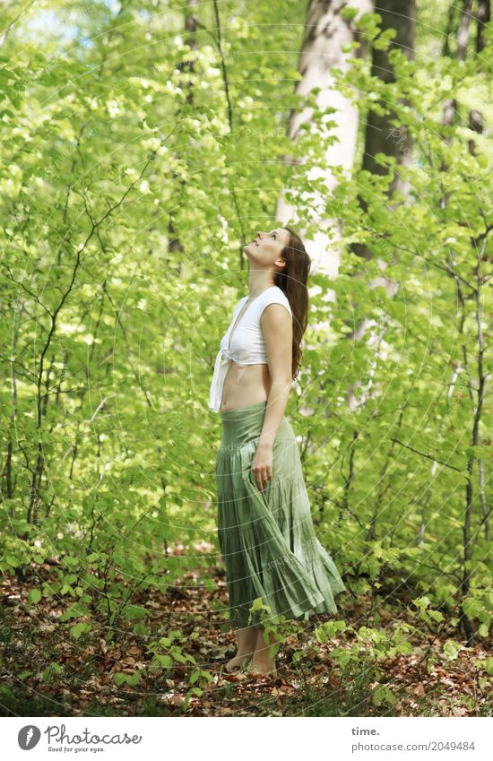 . Feminine Woman Adults 1 Human being Environment Nature Landscape Plant Earth Beautiful weather Tree Forest Shirt Skirt Barefoot Brunette Long-haired Observe