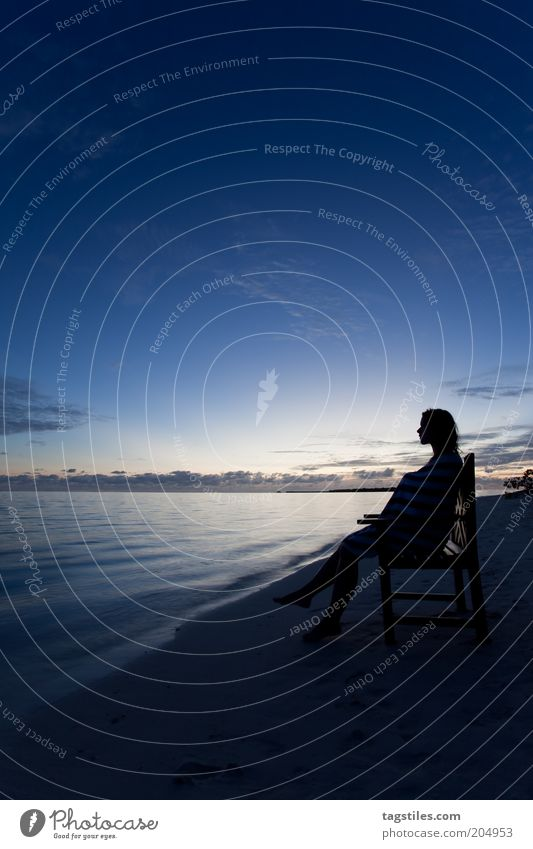 WITHIN REACH AND YET SO FAR AWAY Relaxation Calm Meditation Vacation & Travel Beach Ocean Chair Woman Adults Sky Night sky To enjoy Sit Blue Moody Idyll