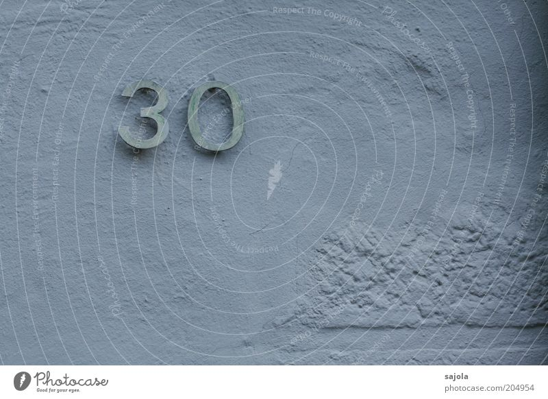 30 (FR 6/10) Wall (barrier) Wall (building) Digits and numbers Blue Plaster Rendered facade Surface Colour photo Subdued colour Exterior shot Copy Space right