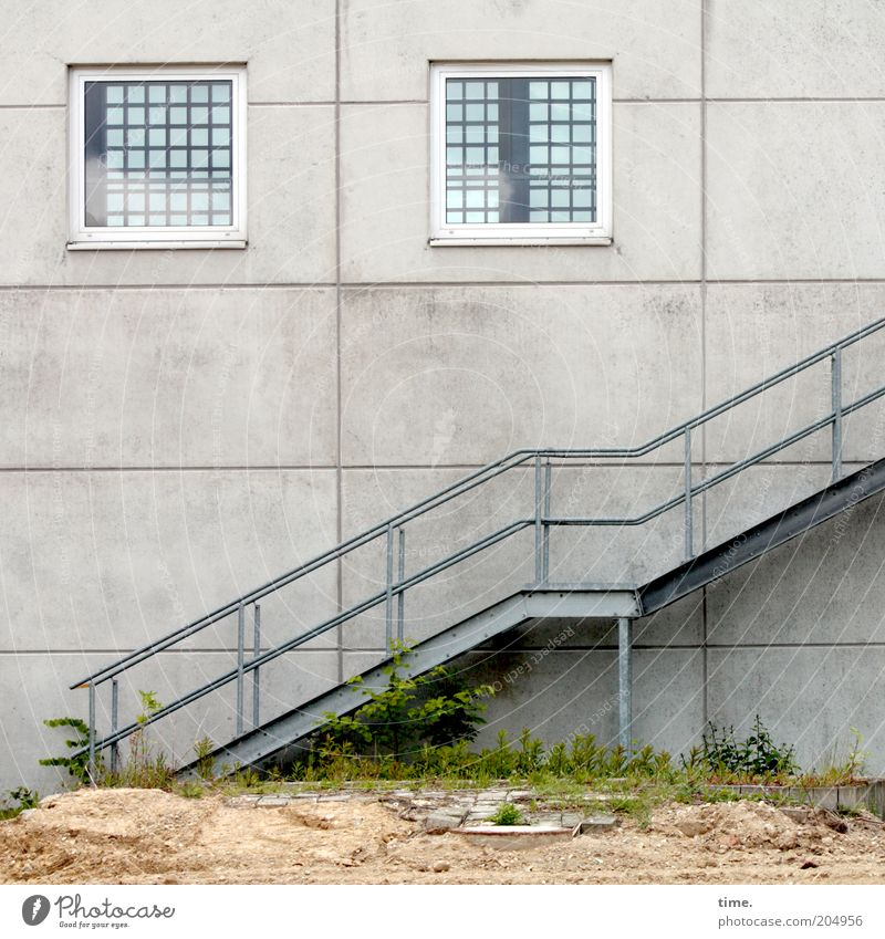 Wall (building) Window Wall (barrier) Sand Architecture Concrete Stairs Broken Steel Upward Diagonal Handrail Iron Banister