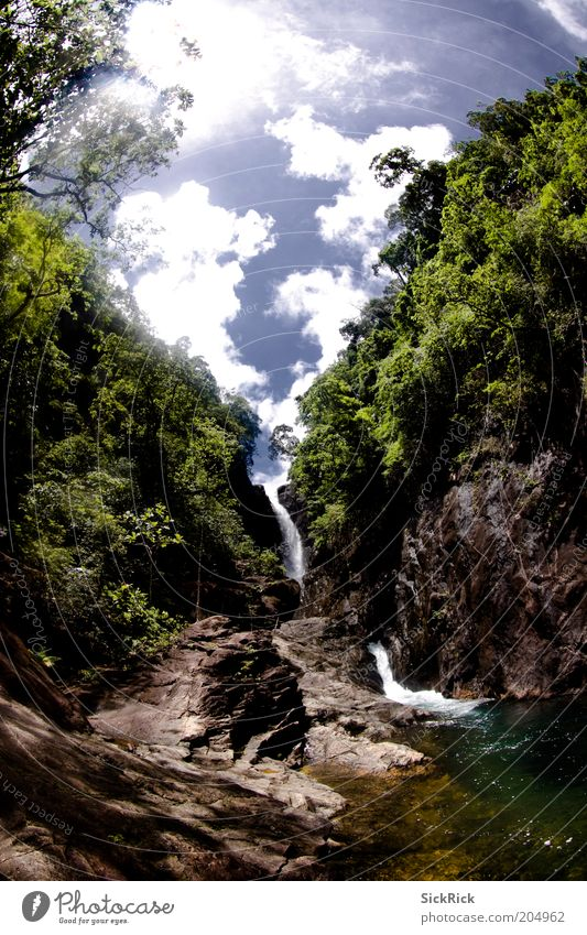 Sky Nature Water Green Blue Vacation & Travel Clouds Landscape Rock Island Tourism Virgin forest Waterfall Thailand Fisheye