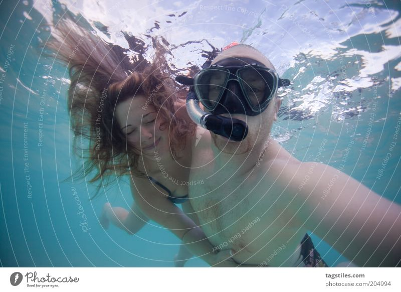 Woman Man Water Vacation & Travel Love Relaxation Happy Hair and hairstyles Couple Together Dive Trust Swimming & Bathing Turquoise To enjoy