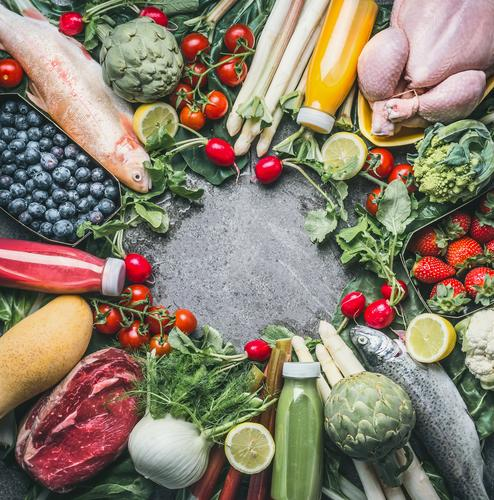Food ingredients for a balanced diet Meat Fish Vegetable Fruit Nutrition Organic produce Diet Beverage Juice Style Design Healthy Healthy Eating Fitness Life