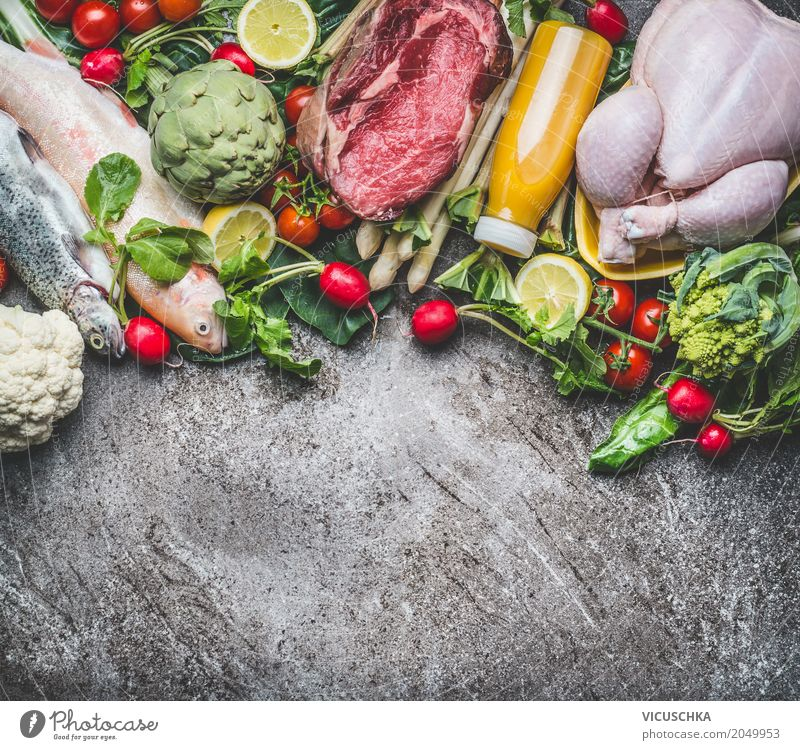 Ingredients for a balanced diet Food Meat Fish Vegetable Lettuce Salad Fruit Apple Herbs and spices Nutrition Organic produce Diet Beverage Cold drink Juice