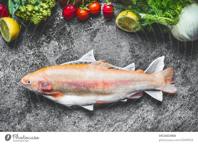 Fresh whole golden rainbow trout with vegetables Food Fish Vegetable Herbs and spices Cooking oil Nutrition Lunch Organic produce Vegetarian diet Diet Style