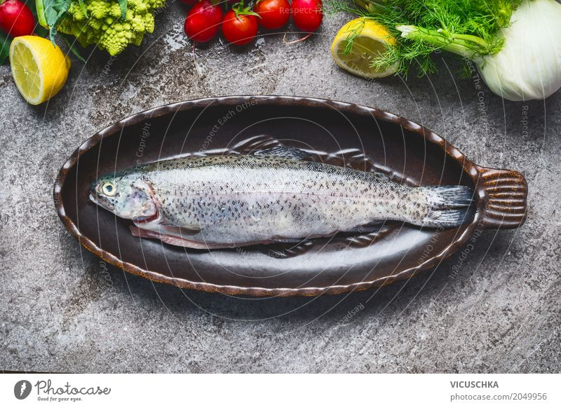 Whole trout in baking tin Food Fish Vegetable Nutrition Organic produce Vegetarian diet Diet Crockery Style Design Healthy Eating Life Table Kitchen Trout