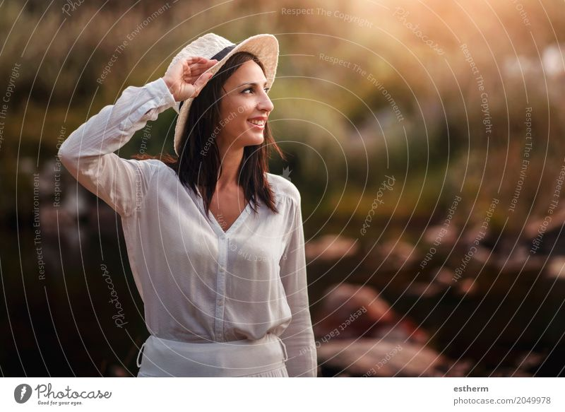 Portrait of pretty woman smiling in nature Human being Woman Vacation & Travel Youth (Young adults) Young woman Summer Beautiful Adults Lifestyle Spring Autumn Feminine Laughter Freedom Trip Field