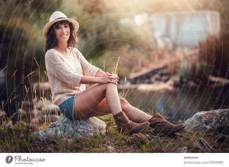Portrait of pretty woman smiling in nature Human being Woman Nature Youth (Young adults) Young woman Summer Beautiful Eroticism Joy Adults Lifestyle Spring