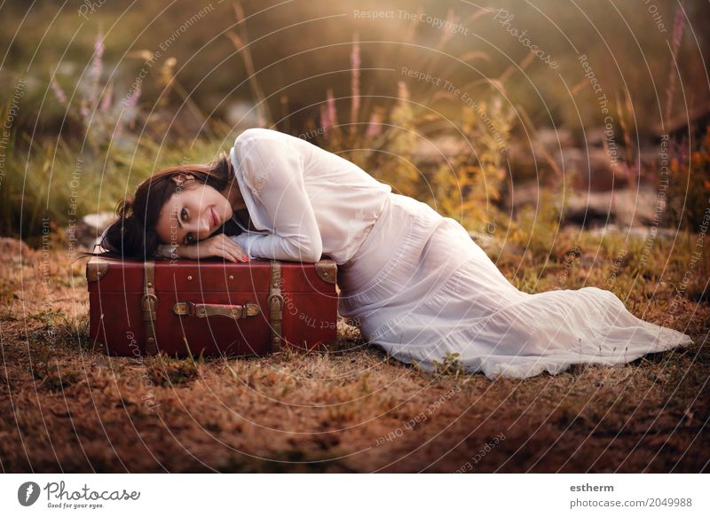 Woman sitting in the field with suitcase Human being Woman Vacation & Travel Youth (Young adults) Young woman Summer Beautiful Adults Lifestyle Spring Autumn Love Feminine Style Freedom Tourism