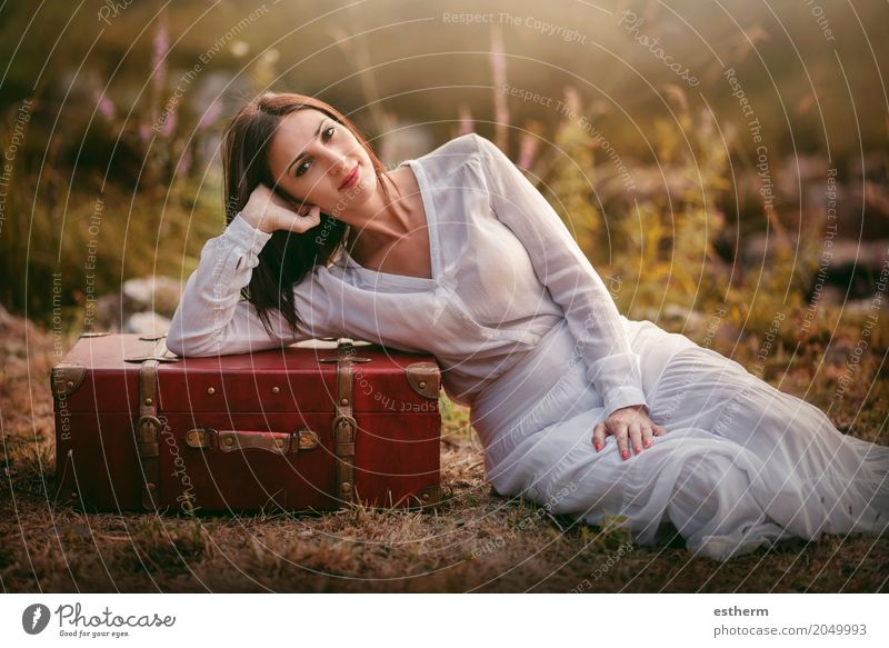 Woman sitting in the field with suitcase Human being Woman Vacation & Travel Youth (Young adults) Young woman Summer Beautiful Relaxation Joy Forest Adults Lifestyle Spring Autumn Feminine Trip