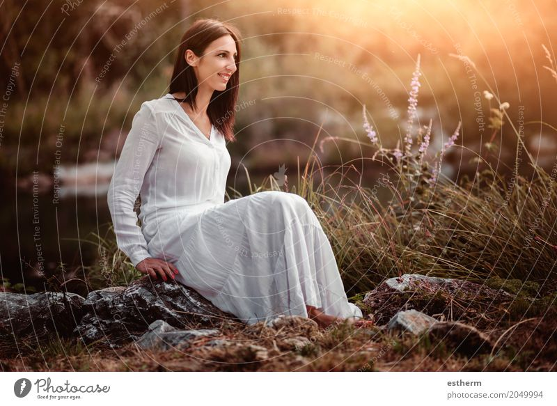 Portrait of pretty woman smiling in nature Human being Woman Vacation & Travel Youth (Young adults) Young woman Beautiful Relaxation Joy Adults Life Lifestyle Feminine Style Happy Freedom Elegant