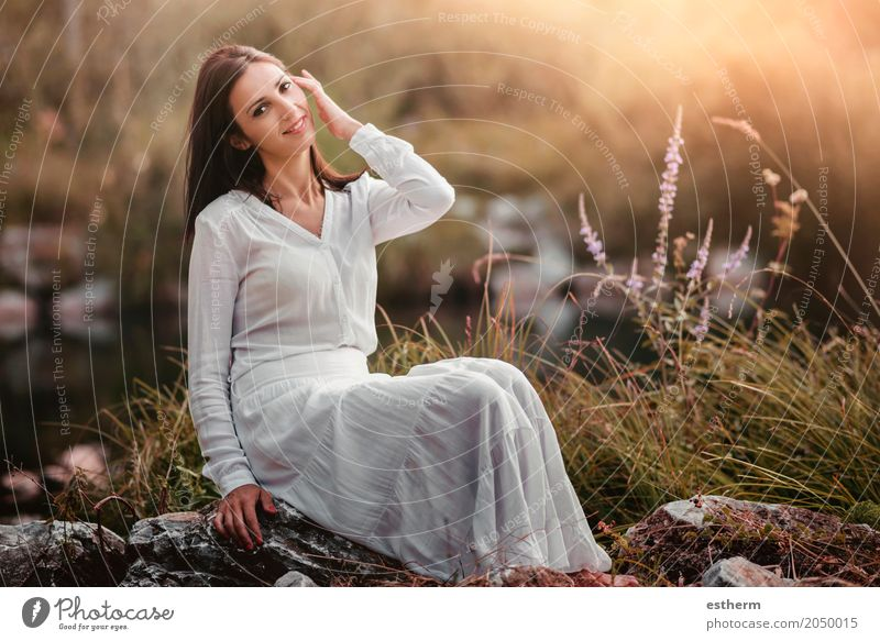 Portrait of pretty woman smiling in nature Lifestyle Elegant Style Beautiful Wellness Relaxation Human being Feminine Young woman Youth (Young adults) Woman