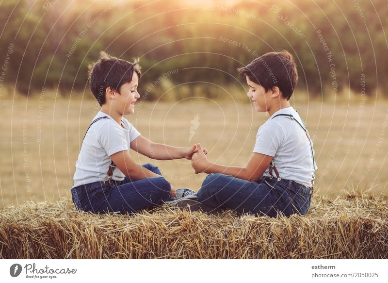 Brothers playing in the field Human being Child Vacation & Travel Summer Joy Lifestyle Spring Love Boy (child) Laughter Family & Relations Playing Together