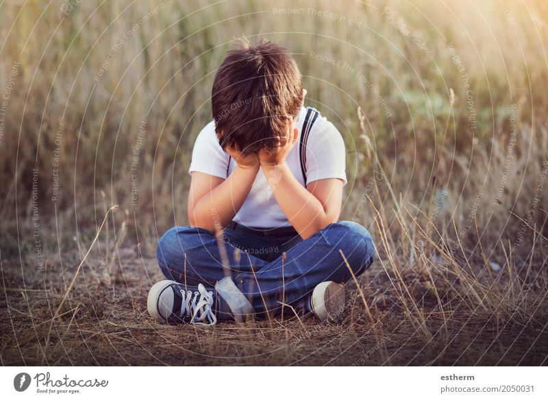 crying boy Human being Child Summer Loneliness Sadness Spring Emotions Meadow Boy (child) Garden Masculine Park Fear Infancy Gloomy Sit