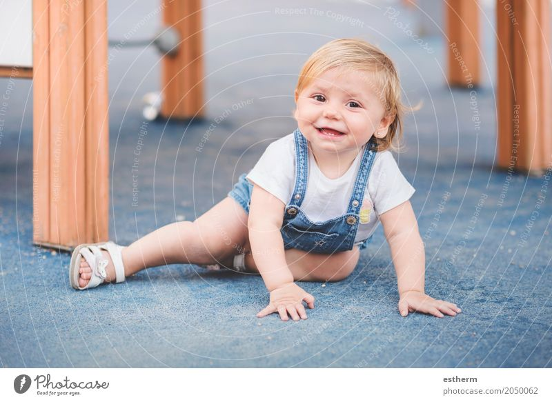 little baby on playground Lifestyle Playing Children's game Human being Feminine Baby Girl Infancy 1 0 - 12 months Smiling Laughter Sit Cuddly Small Funny