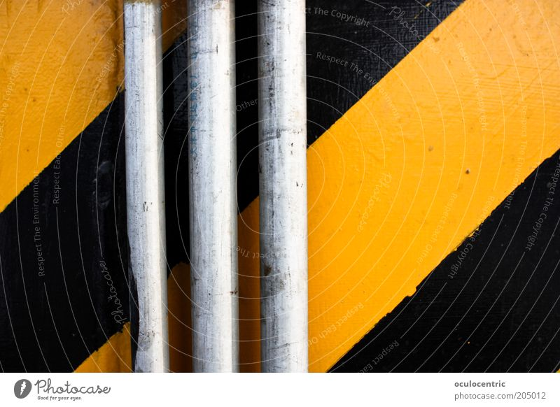 not at all Wall (barrier) Wall (building) Conduit Yellow Black Symmetry Stripe Pipe Contrast Flashy Colour photo Multicoloured Interior shot Deserted Day Light