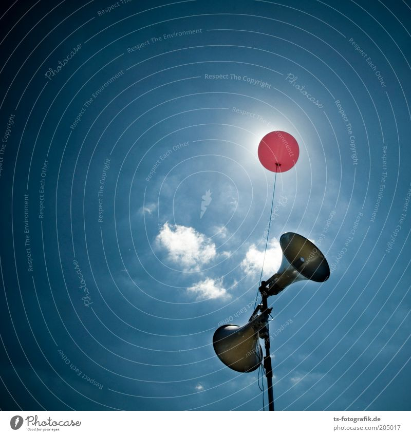 Sky Blue Clouds Weather Pink Balloon Technology Communicate Beautiful weather Loudspeaker Loud Entertainment Back-light Megaphone Volume Clang