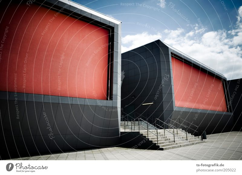 3D glasses Sky Clouds Beautiful weather Deserted Places Manmade structures Architecture Cinema spa park Stairs Banister Cladding Sharp-edged Large Blue Gray Red