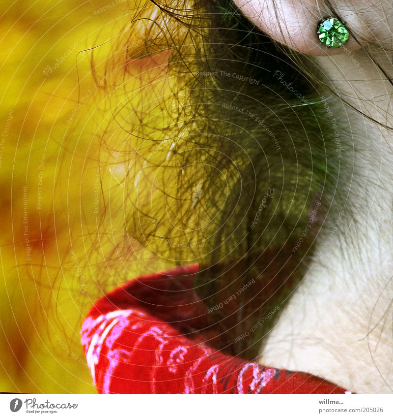 woman with earring Feminine Hair and hairstyles Neck Jewellery Earring Collar Ear lobe Nape Skin Detail Colour photo Exterior shot