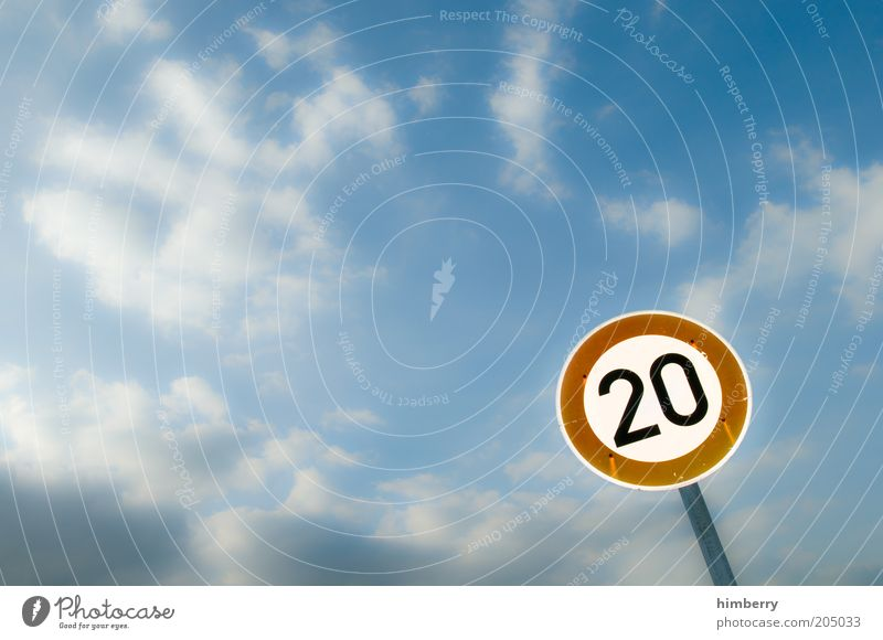 Sky Summer Street Road traffic Weather Transport Speed Traffic infrastructure Laws and Regulations Digits and numbers 20 Circular Road sign Rule Road sign Country road