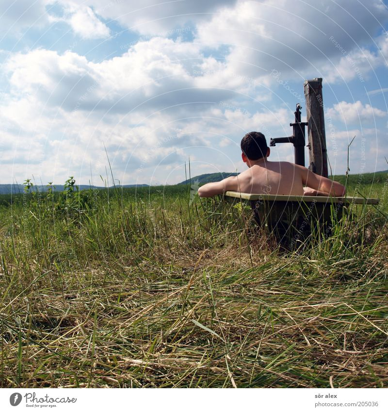 rural life Human being Young man Youth (Young adults) 1 Nature Clouds Summer Pasture Bathtub Hand pump Swimming & Bathing Relaxation Hot Joy