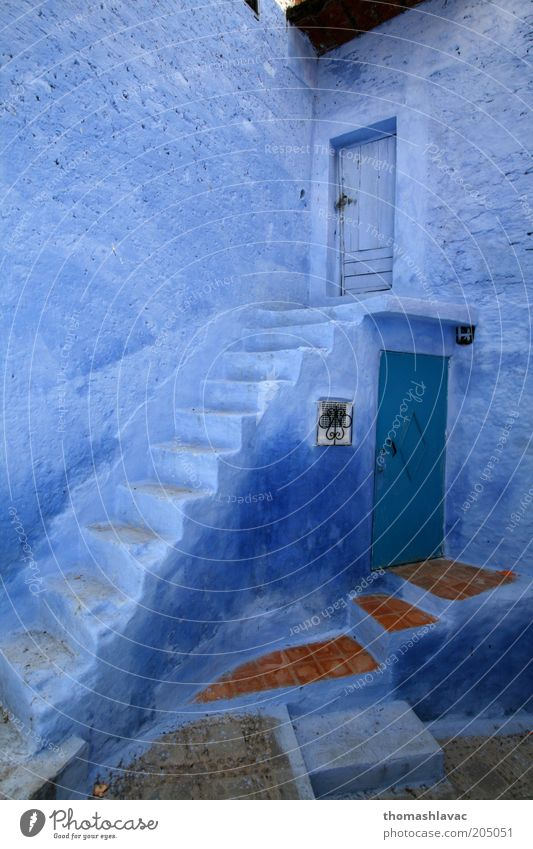Blue house Blue Vacation & Travel House (Residential Structure) Wall (building) Emotions Wall (barrier) Building Door Facade Stairs Africa Village Old town Morocco Chechaouen