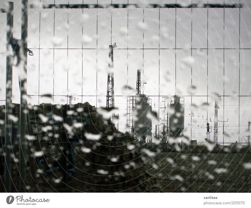 White Black Clouds Cold Autumn Rain Drops of water Wet Safety Logistics Fence Electricity pylon Barrier Grid Vertical Grating