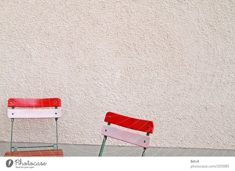 Red Calm Wall (building) Garden Wall (barrier) 2 Pink Facade Break Chair Restaurant Furniture Seating Copy Space left Seat