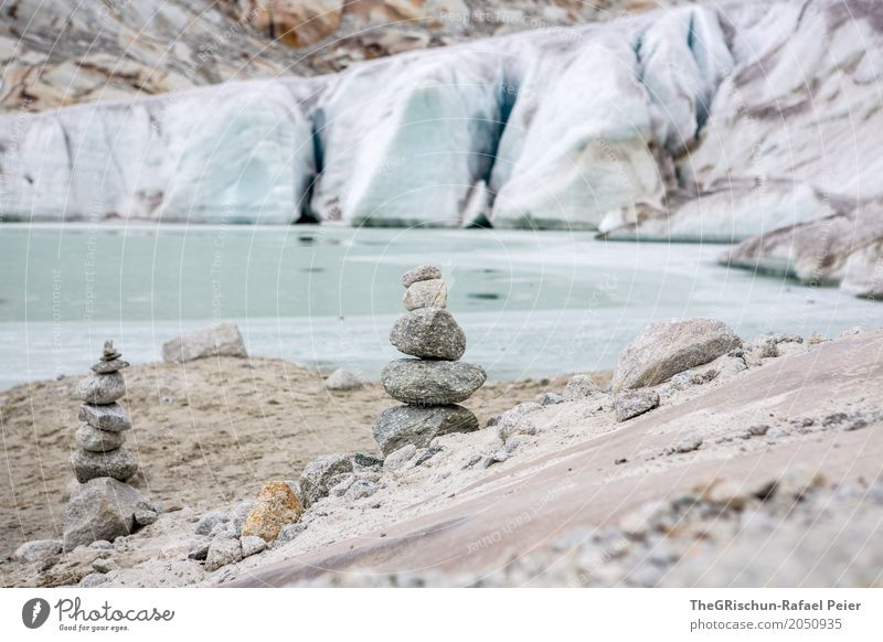 cairn Nature Blue Brown Gray Black Silver White Cairn Exterior shot Glacier Rhone glacier Switzerland Sand Stone Lake Glacier ice Ice Colour photo Deserted Day
