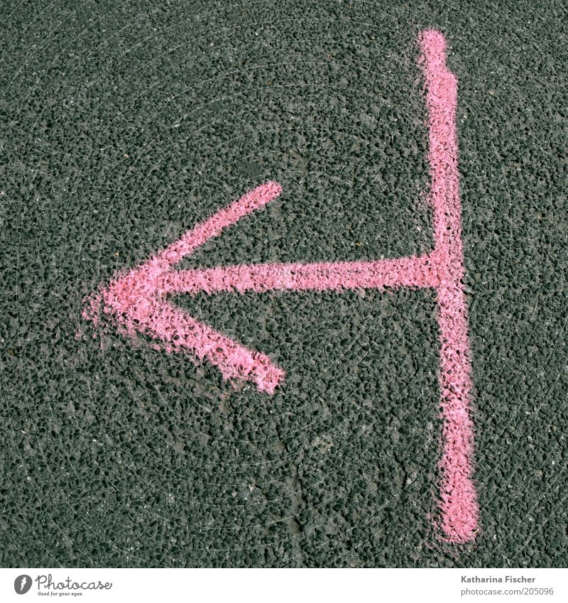 For pink times clearly this way ! Street Lanes & trails Stone Concrete Sign Graffiti Line Arrow Stripe Gray Pink Direction Road marking Asphalt Marker line