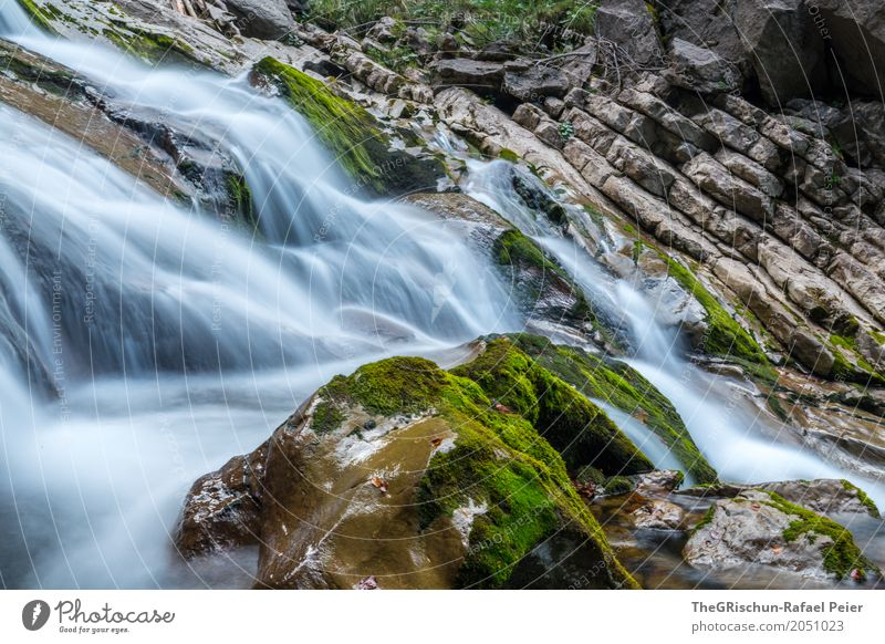 waterfall Environment Nature Landscape Water Drops of water Blue Brown Gray Green Black White Waterfall Stone Moss Rock Hover Long exposure Switzerland Wet Cold