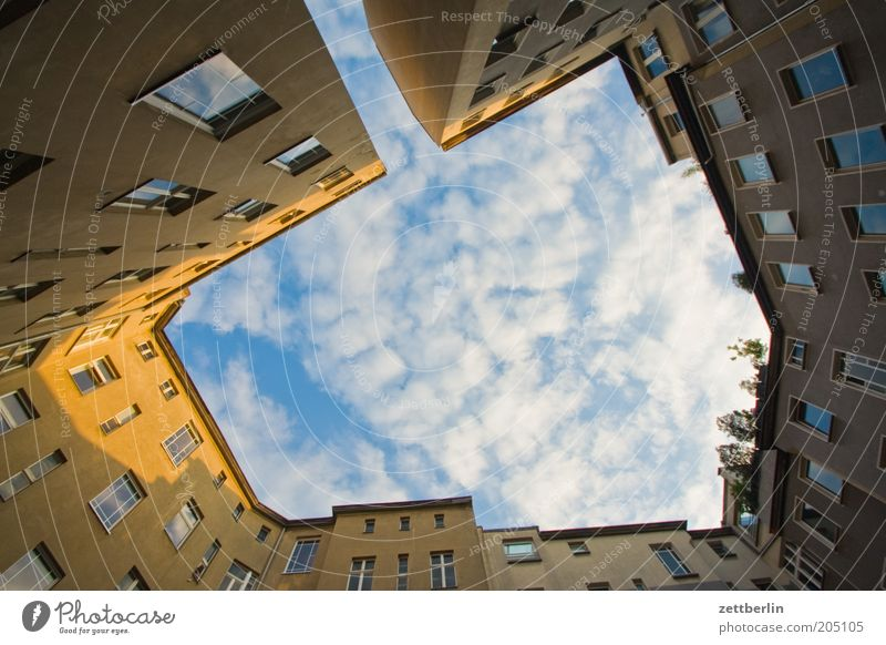 Sky City House (Residential Structure) Clouds Building Architecture Story Backyard Town house (City: Block of flats) Front side Sunset Interior courtyard Glazed facade