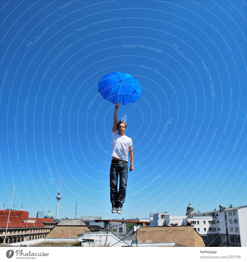 Human being Sky Man Blue Adults House (Residential Structure) Berlin Flag Style Dream Flying Lifestyle Europe Roof Desire Umbrella