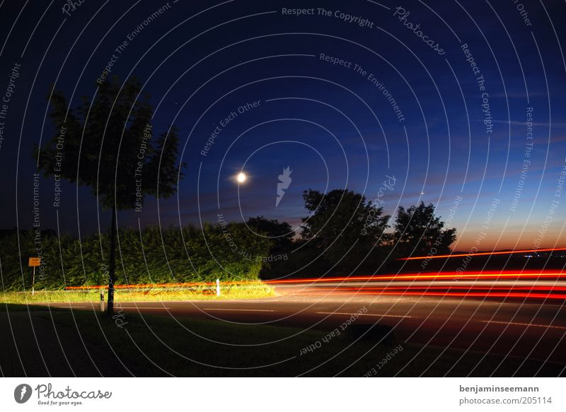 night ride Sky Night sky Moon Traffic infrastructure Street Movement Town sign Car lights Rear light Progress Colour photo Exterior shot Evening Twilight
