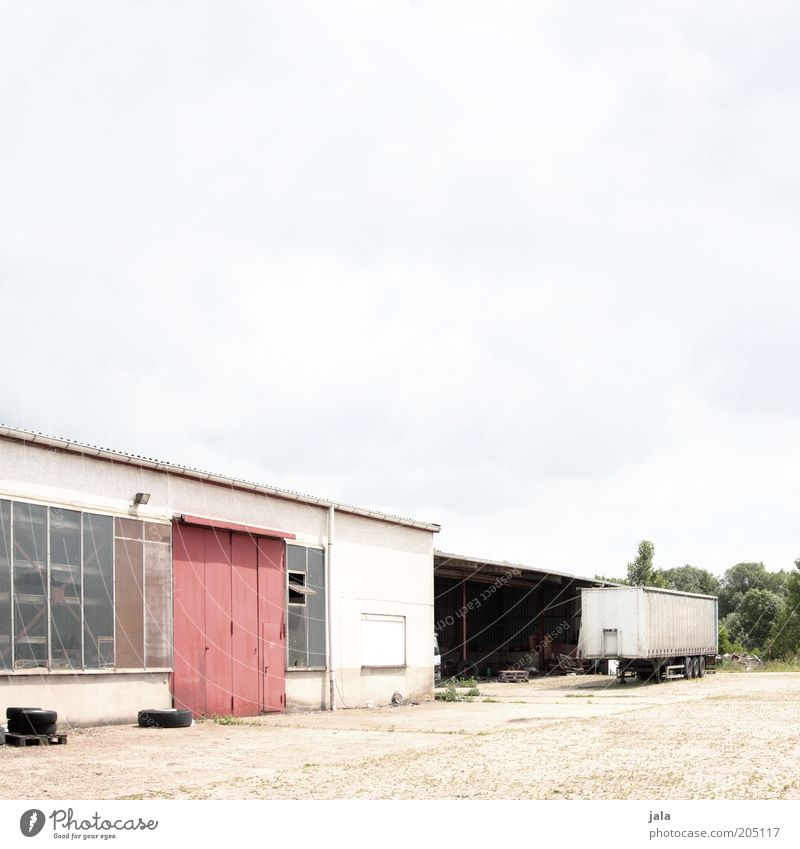 workshop Industrial plant Factory Places Manmade structures Building Warehouse Workshop Truck Trailer Gate Industry Industrial Photography Factory yard