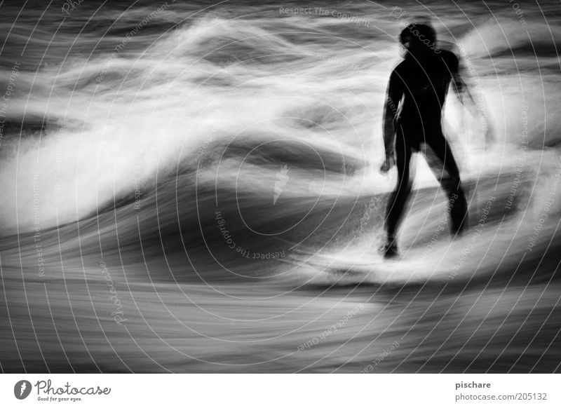 go with the flow Leisure and hobbies Sports Aquatics Masculine 1 Human being Water Waves Movement Esthetic Surfing Flow Graphic Black & white photo