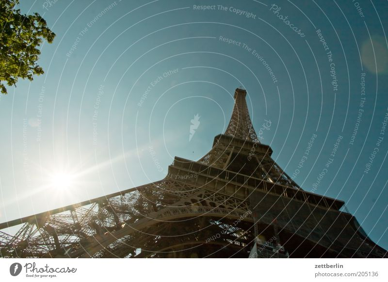 Eiffel Tower Paris Landmark France Construction Structural engineering Iron Steel Architecture Worm's-eye view Sun Back-light Dazzle Vacation & Travel
