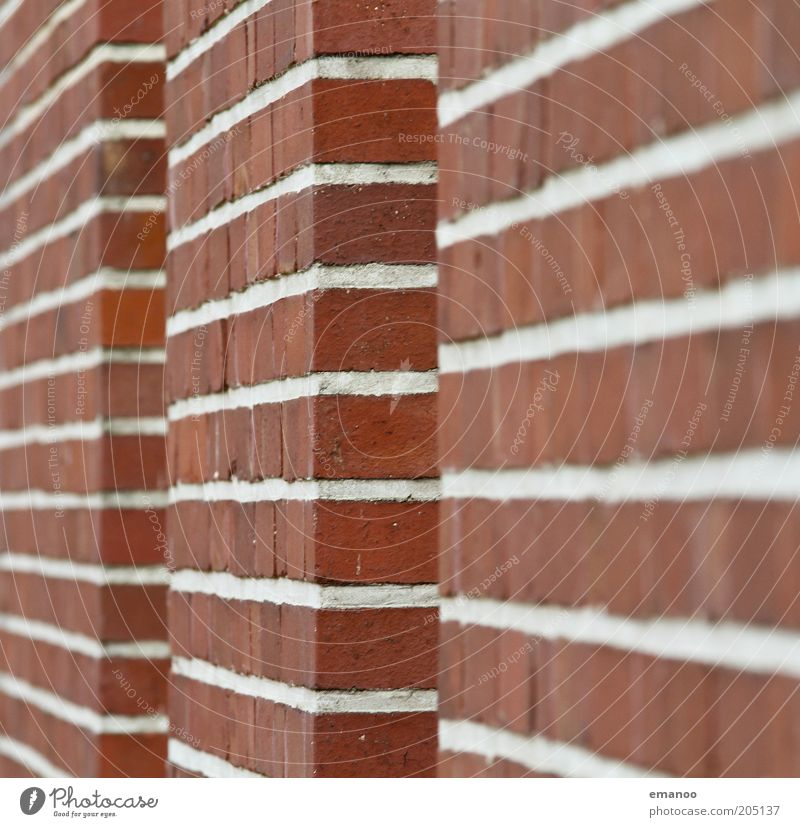 1920 Manmade structures Building Architecture Wall (barrier) Wall (building) Facade Stone Brick Sharp-edged Retro Red White Line Direct Brick red Colour photo