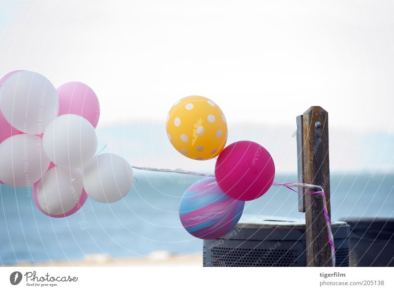balloons swaying in the wind Water Sky White Blue Joy Beach Yellow Colour Coast Pink Wind Flying Trip Balloon Lie Trash