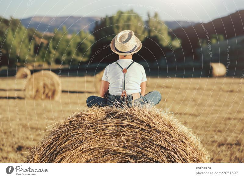 Back view of a Pensive boy in the straw field Human being Child Vacation & Travel Loneliness Joy Lifestyle Sadness Emotions Meadow Boy (child) Happy Dream