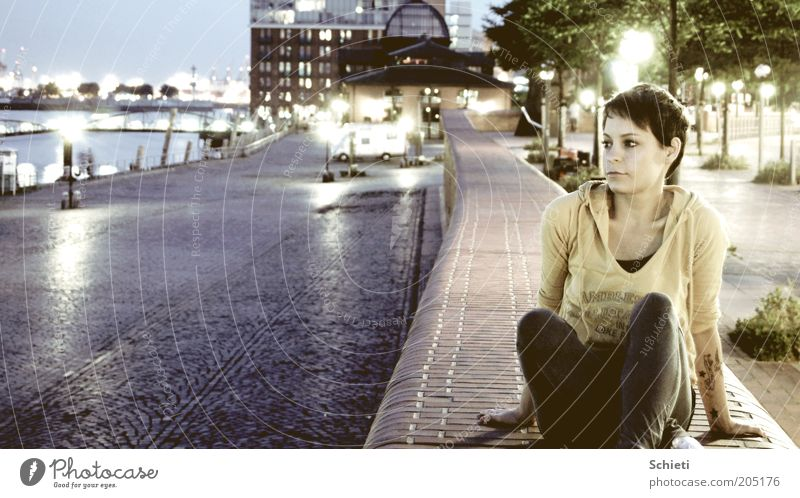 own the night I Feminine Young woman Youth (Young adults) 1 Human being Water Night sky Hamburg Port City Harbour Tattoo Brunette Short-haired Observe Think Sit