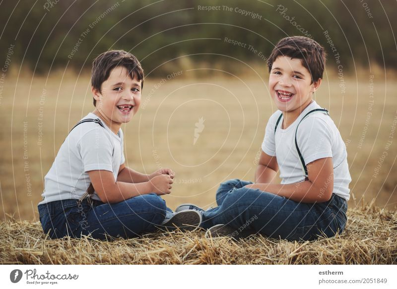 Happy brothers in the field Human being Child Joy Lifestyle Love Emotions Boy (child) Laughter Family & Relations Together Friendship Masculine Field Infancy