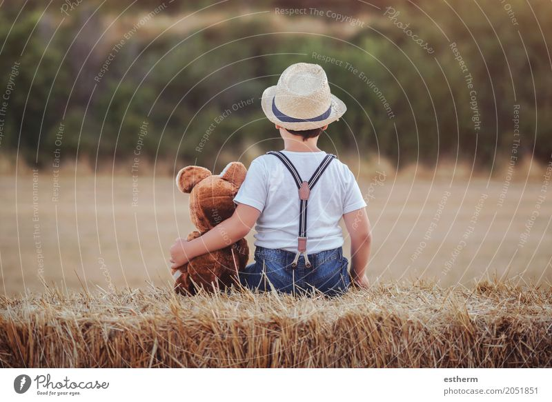 Boy hugging teddy bear in the wheat field Lifestyle Leisure and hobbies Children's game Human being Toddler Boy (child) Infancy 1 3 - 8 years Agricultural crop