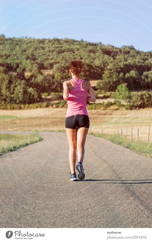 Girl running on the road Lifestyle Wellness Well-being Leisure and hobbies Sports Fitness Sports Training Track and Field Human being Feminine Young woman